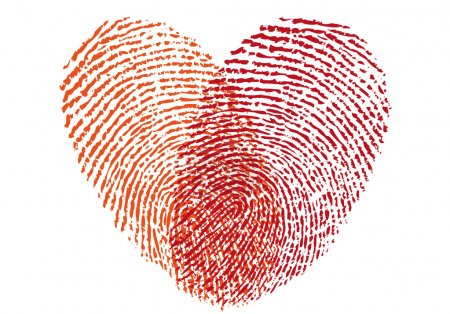Illustration for Red fingerprint heart, vector design element for wedding invitation, cards - Royalty Free Image