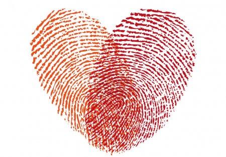 Illustration pour Coeur d'empreinte digitale rouge, élément de conception vectorielle pour invitation de mariage, cartes - image libre de droit