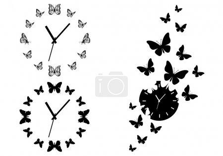 Illustration pour Time flies, horloges papillon pour l'art mural, ensemble d'éléments de conception vectorielle - image libre de droit