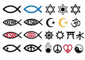Religious symbols religion signs vector icon set