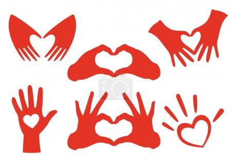 Illustration pour Ensemble de mains en forme de coeur, éléments de conception vectorielle - image libre de droit
