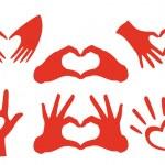 Heart shaped hands set, vector design elements...