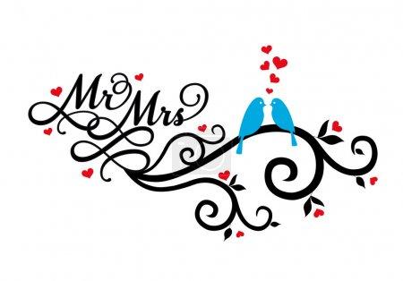 Illustration pour M. et Mme, oiseaux de mariage en tourbillon avec des cœurs rouges, illustration vectorielle - image libre de droit