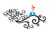 Mr and Mrs wedding birds on swirl with red hearts vector illustration