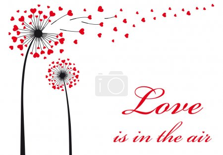 Illustration for Love is in the air, dandelion with flying red hearts, vector illustration - Royalty Free Image