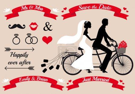 Illustration pour Ensemble de mariage, mariée et marié sur bicyclette tandem, éléments de design graphique - image libre de droit