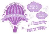 hot air balloon wedding invitation vector