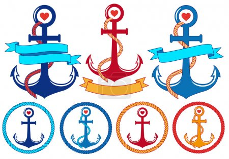Illustration for Anchors with rope, ribbons and frames, set of vector design elements - Royalty Free Image