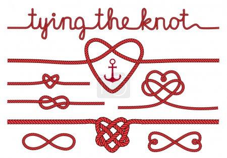 rope hearts and knots, vector set