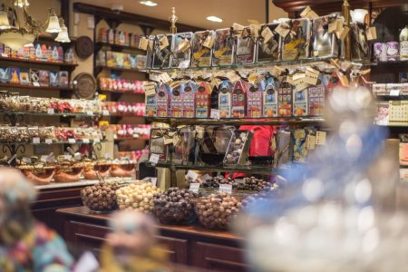 Brussels, Belgium - February 17, 2014:. Interior of chocolate sh