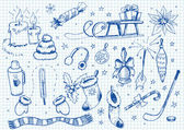 Vectorized hand-drawn doodles of Winter fun