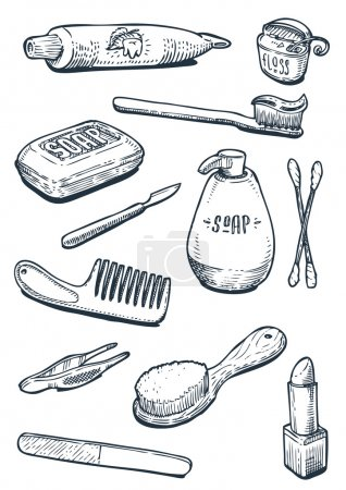 Illustration for Set of hygiene and bathroom tools in vector - Royalty Free Image