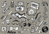 The set of the hipster doodles in vector