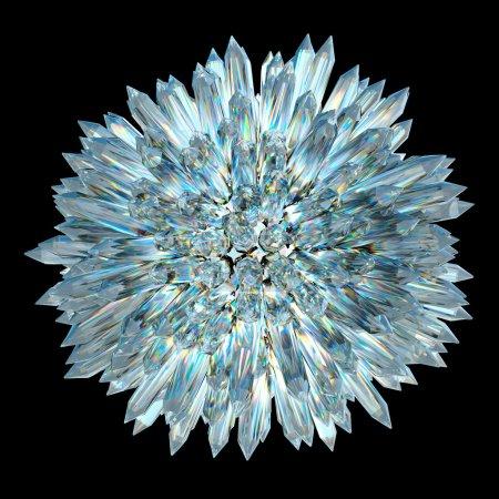 Photo pour Pierres précieuses et minéraux : sphère de cristal avec colonnes aiguës - image libre de droit