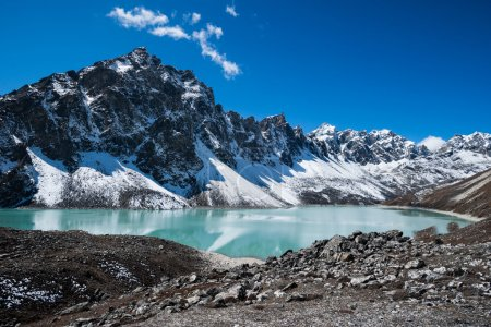 Sacred Lake and peaks near Gokyo in Himalayas