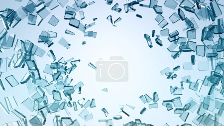 Damage and wreck: Pieces of broken glass