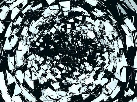 Photo pour Morceaux de verre de miroir brisé sur le noir. grande résolution - image libre de droit