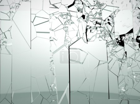 Photo for Destructed or broken glass isolated on black. Large resolution - Royalty Free Image