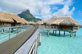 Luxury overwater vacation resort on Bora Bora