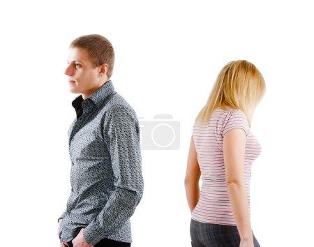 Young couple quarreled