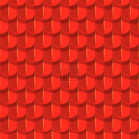 Vector seamless background. Red tile roof