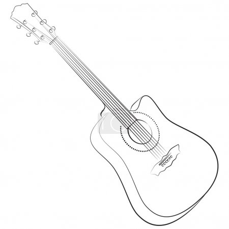 Acoustic guitar. Vector illustration colorless