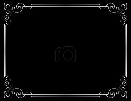 Illustration pour Cadre vintage vectoriel avec angles à motifs sur fond noir - image libre de droit
