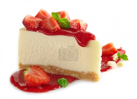 Photo for Strawberry cheesecake and fresh berries on white background - Royalty Free Image