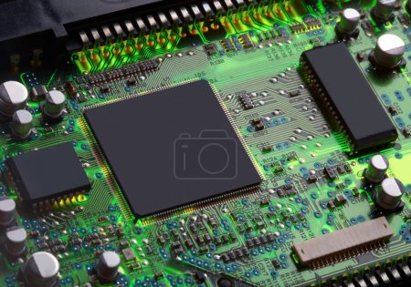 Photo for Closeup of electronic circuit board with processor - Royalty Free Image