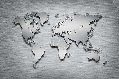 Metal World Map on metal