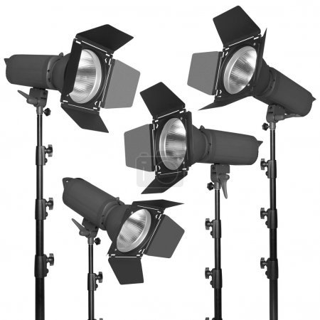 Set of photographic flash or spotlight