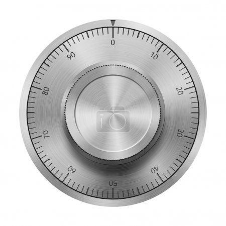 Photo for Safe combination lock wheel, isolated on white - Royalty Free Image