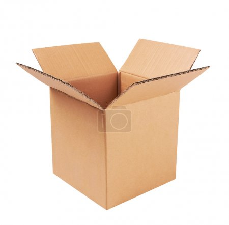 Photo for Open cardboard box isolated on white - Royalty Free Image