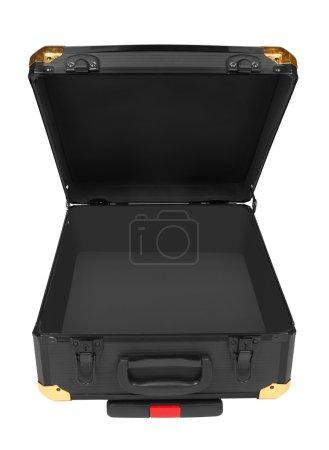 Photo pour Valise ouverte noire isolée sur fond blanc - image libre de droit