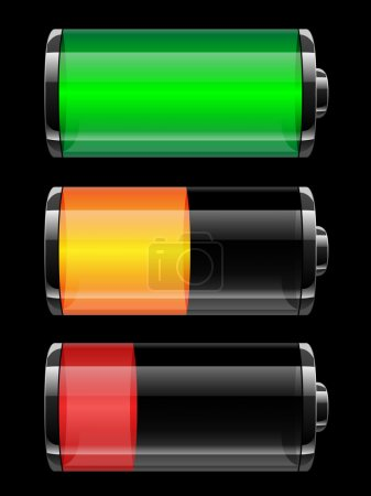 Illustration pour Statut de charge de la batterie - illustration vectorielle - image libre de droit
