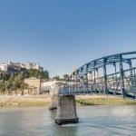 Mozart bridge (Mozartsteg) across Salzach river at...
