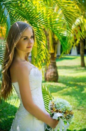 Portrait of happy beautiful bride