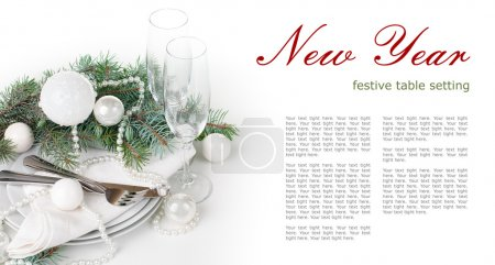 Christmas table setting, table decoration in white