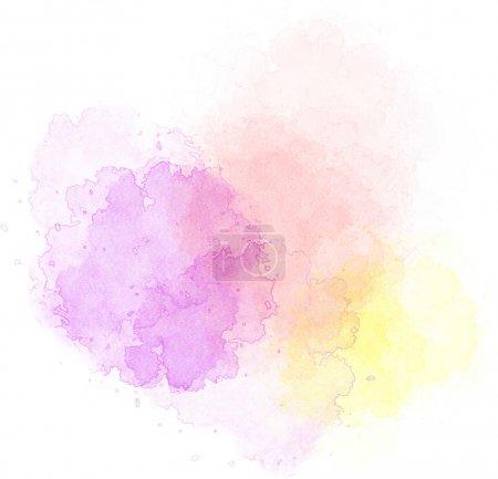 Photo pour Points lumineux de peinture aquarelle de différentes couleurs sur un fond blanc isolé - image libre de droit