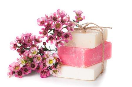 Photo pour Savon blanc et rose et des fleurs de cerisier roses sur fond blanc, isolé. cadeaux et souvenirs à la main. - image libre de droit
