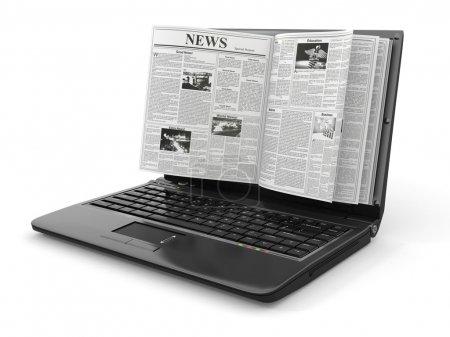 noticias. periódico como pantalla del ordenador portátil sobre fondo blanco