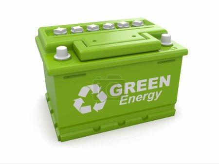 Photo pour Batterie de voiture avec panneau de recyclage vert. 3d - image libre de droit