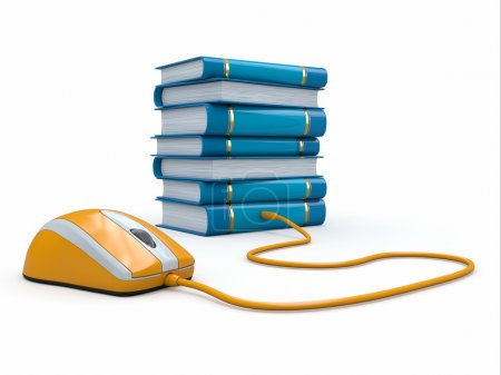 Photo for Internet education. Books and computer mouse. 3d - Royalty Free Image