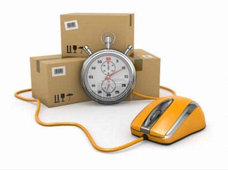 Photo for Online express delivery. Mouse, stopwatch and package. 3d - Royalty Free Image