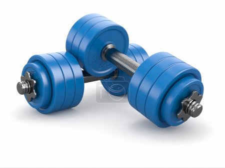 Photo for Iron dumbbells weights on white background. 3d - Royalty Free Image