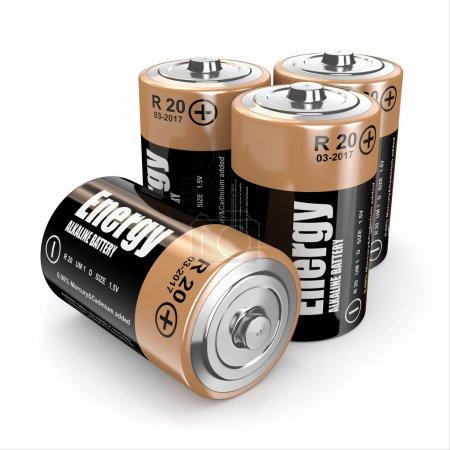 Photo pour Piles à énergie sur fond blanc. Image en trois dimensions. 3d - image libre de droit