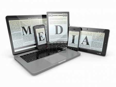 Media. Laptop, phone and tablet pc. Electronic devices.