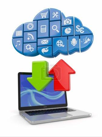 Photo pour Cloud computing. Ordinateur portable et logiciel d'icônes. 3d - image libre de droit