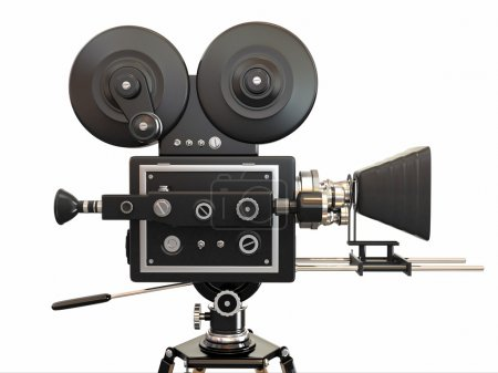 Photo for Vintage movie camera on white background. 3d - Royalty Free Image