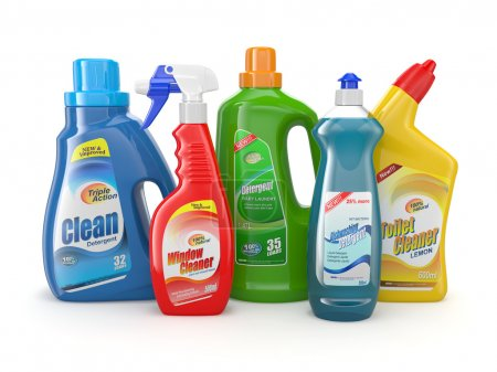 Photo for Plastic detergent bottles on white background. Cleaning products. 3d - Royalty Free Image